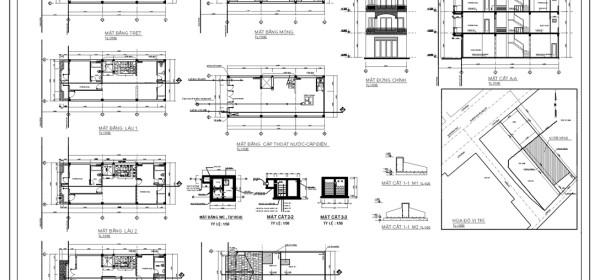 Bản vẽ xin giấy phép xây dựng nhà phố