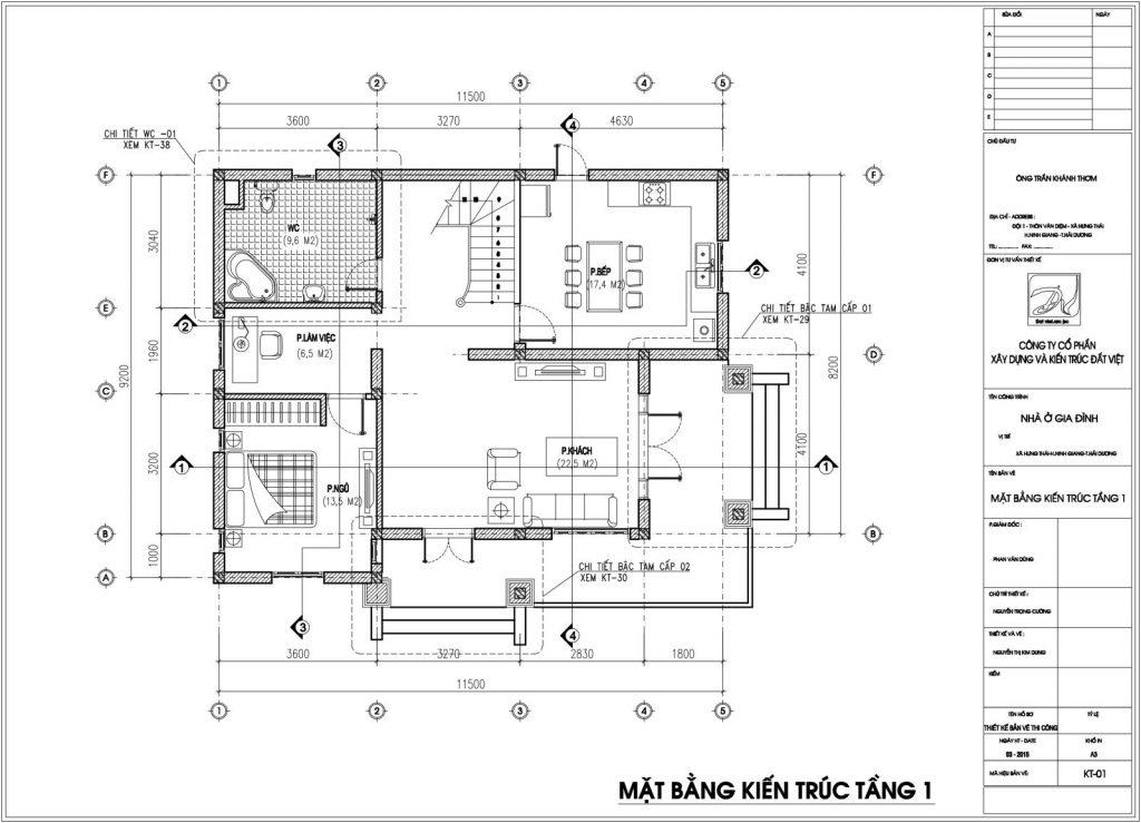 Bản vẽ chi tiết kiến trúc tầng 1.