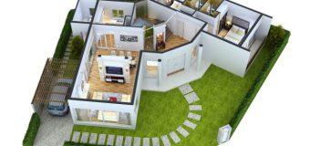 Một số mẫu nhà 1 tầng 2 phòng ngủ cho gia đình nhỏ
