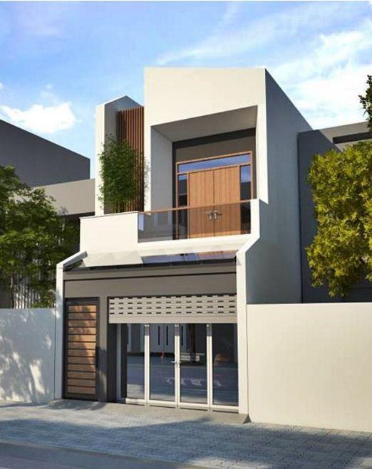 Mẫu thiết kế nhà phố 1 trệt 1 lầu sân thượng